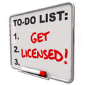 Get licensed words to do list board approval on a illustrate the need official certification or authorization Royalty Free Stock Photo