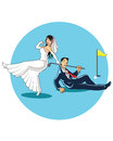 Get married to golfer illustration of funny joke about wedding and golf for poster or t shirt Royalty Free Stock Images