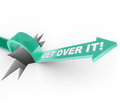 Get over it overcoming a challenge or problem an arrow jumps hole with the words telling you to move past being down depressed Royalty Free Stock Images