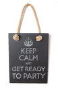 Get ready to party keep calm and on blackboard table Stock Photography