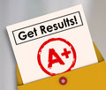 Get Results Report Card Student Letter Grade A+ Royalty Free Stock Photo