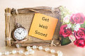 Get well soon greeting card hand made with roses and pocket watch Royalty Free Stock Photo