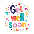 Get well soon greeting card lettering text Stock Photography