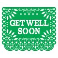Get well soon Papel Picado greeting card or postcard - Mexican green vector design styled as paper cutout decorations