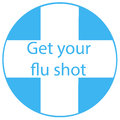 Get your flu shot vaccine sign badge with blue syringe injection icon. Vector illustration. Royalty Free Stock Photo