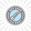 Get your flu shot vaccine sign with syringe icon badge Royalty Free Stock Photo