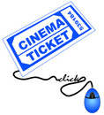 Getting movie ticket online Royalty Free Stock Image