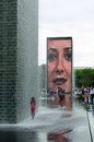 Getting wet at Crown fountain in millennium park Stock Photos