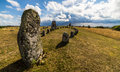 Gettlinge grave field with viking stone ship öland sweden Royalty Free Stock Photos