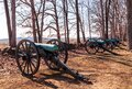 Gettysburg, Pennsylvania, USA March 14, 2021 Confederate cannons lined up on Confederate Avenue at Gettysburg National Military Pa Royalty Free Stock Photo