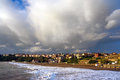 Getxo beach with stormy clouds Royalty Free Stock Photo