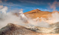 Geysers of steam at bolivian altiplano Stock Photo