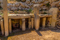 Ggantija temple rests of in the island of gozo malta Stock Image