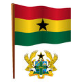 Ghana wavy flag and coat of arms against white background art illustration image contains transparency Stock Photos