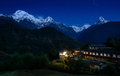 Ghandruk and the annapurna massif at night village Stock Photography