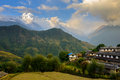 Ghandruk village in the annapurna region and south and hiunchuli background nepal Royalty Free Stock Photos