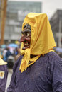 Ghastly outline of witch mask at Carnival parade, Stuttgart