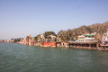 Ghats temples and hotels at Haridwar Royalty Free Stock Photo