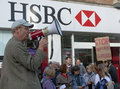 Ghee Bowmen protests outside HSBC Bank Stock Photo