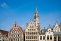 Ghent houses facade of along the graslei in belgium Stock Images