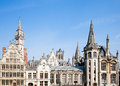 Ghent houses facade of along the graslei in belgium Royalty Free Stock Image