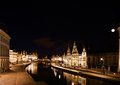 Ghent at night the graslei in belgium Stock Image
