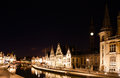 Ghent at night the graslei in belgium Stock Photos