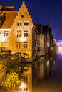 Ghent old brick house in at night Stock Image