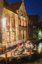 Ghent old brick house in at night Royalty Free Stock Images