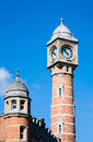 Ghent railway station clock tower of the sint pieter in belgium Royalty Free Stock Image