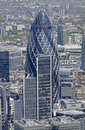 The gherkin london a view of building in from above Stock Image
