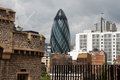 The gherkin london a view of palace named cucumber in Stock Images