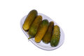 Gherkins pickles on a white background Royalty Free Stock Photos
