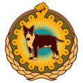 Ghetto emblem with dog. Stock Photo