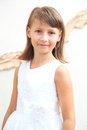 Ghild in dress portrait little girl white Royalty Free Stock Photo
