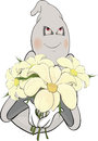 Ghost and bunch of flowers cartoon lovely spirit with the big Royalty Free Stock Image