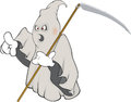 Ghost cartoon spirit in white gloves and with the weapon Royalty Free Stock Photo