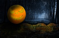 Ghost in the darkness orange over dark tone Royalty Free Stock Image