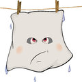 Ghost drying on a rope cartoon wet spirit hanging cord Stock Photos