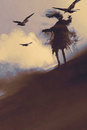 Ghost with flying crows in the desert