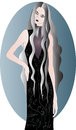 Ghost girl the of the with long wavy grey hair and bigbig creepy eyes dark lips in long dark floral print dress with grey collar Stock Photography