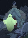 Ghost halloween illustration of cute on cemetery background Stock Images
