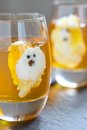 Ghost jello treats for halloween orange jelly and whipped cream Stock Photo