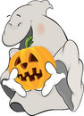 Ghost and a pumpkin cartoon cheerful with an orange Royalty Free Stock Photos