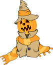 Ghost and a pumpkin cartoon orange in raincoat in hat Royalty Free Stock Image