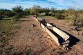 Ghost of webb well arizona a set old concrete cattle water troughs at a site known as in the gila bend mountains western their Stock Photos