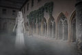 Ghost Woman in Courtyard