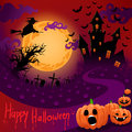 Ghostly castle beautiful poster for halloween with a in the moonlight Royalty Free Stock Photos