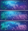 Ghostly horses on a background of the sky silhouettes running Royalty Free Stock Images