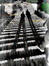 The ghostly shadow on the steps Royalty Free Stock Photo